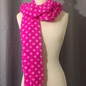 Kate Spade ♠️ hot pink polka dot scarf